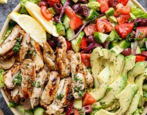 Grilled Lemon Herb Mediterranean Chicken Salad