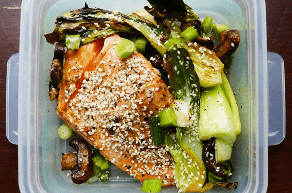 Sesame Salmon with Baby Bok Choy and Mushrooms