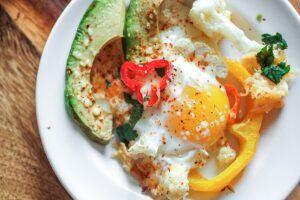 Low Carb Spicy Baked Eggs with Cheesy Hash